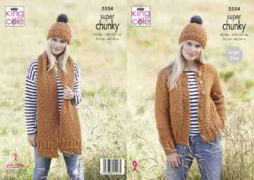 King Cole Super Chunky Cardigan ,Scarf and Hat Knitting Pattern , 5554